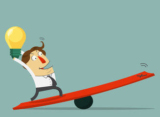 Businessman  hold the bulb of idea and stand on the lever.