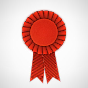 Red Realistic Textile Rosette with Ribbons.