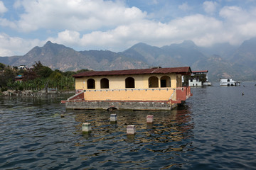 flooded houses on Lake Atitlan Gutemala