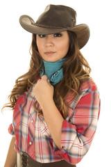 cowgirl red plaid shirt close touch bandana