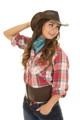 cowgirl red plaid shirt smile look back