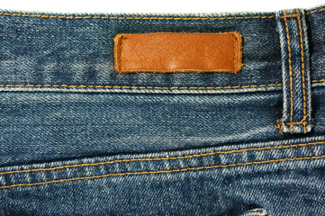 Jeans with leather label texture