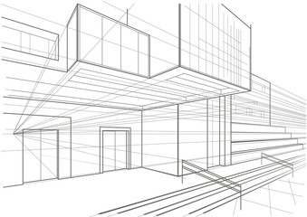 Architectural sketch of a cubic building