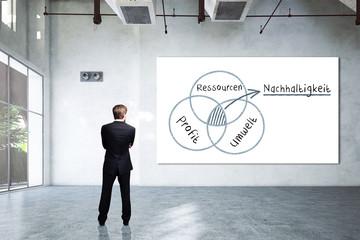 Geschäftsmann vor Leinwand mit Diagramm über Nachhaltigkeit