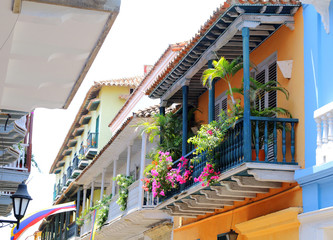 View of balconies in Cartagena, Colombia