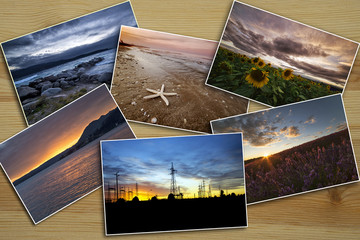 photo collage landscapes at sunset