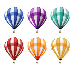 Set of Realistic Colorful Hot Air Balloons Flying