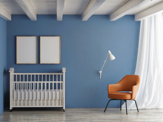 Baby room, mock up poster on blue wall, 3d illustration