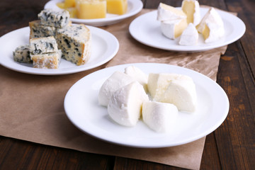 Plates of various types of cheese