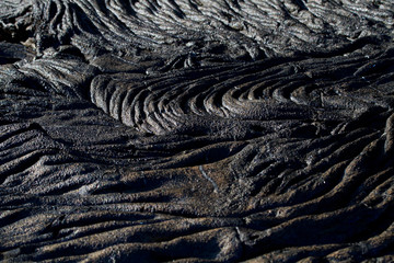 Closeup shot of lava formations in Santiago Island, Galapagos