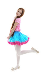 Beautiful little girl wearing cute pettiskirt, isolated on
