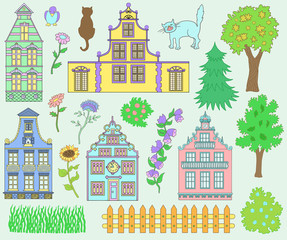 Design set with houses, pets and nature details
