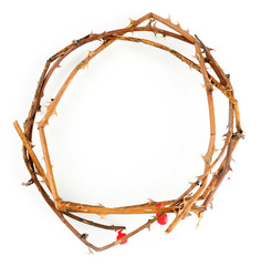 Crown of thorns with blood, isolated on white