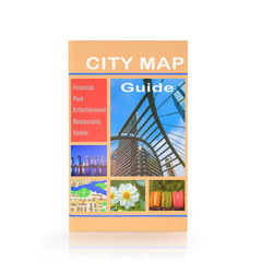 Travel guide books on white isolated background