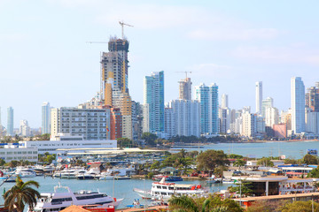 Bocagrande and cartagena port view from city center.