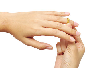 woman's hands with golden ring