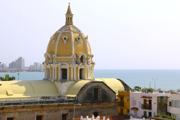 Dome of San Pedro church in the center of Cartagena