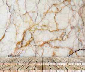 Backdrop  marble  wall and wood slabs in perspective background.