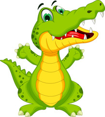 crocodile cartoon posing