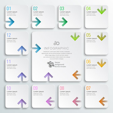 Infographics Vector Arrow Buttons, 12-Step