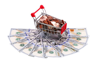 Poster money in Shopping Cart Isolated On White Background