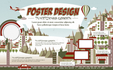 lovely town scenery poster template design
