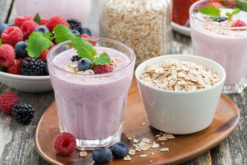 berry smoothie with oatmeal in a glass