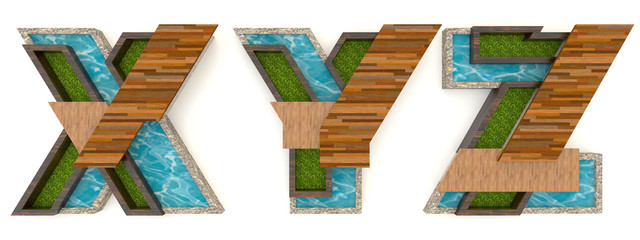 3D English alphabet fonts in architect texture style (X Y Z set)