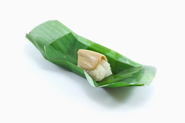 Sticky rice wrapped in banana custard thai candy