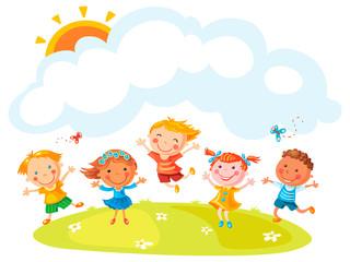Happy Cartoon Kids Jumping