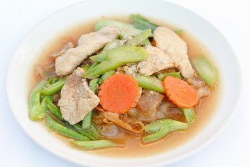Fried noodles with pork,carrot and chinese broccoli.