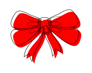 Retro Red Ribbon Bow Vector