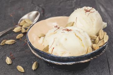 Saffron and Cardamom Ice Cream
