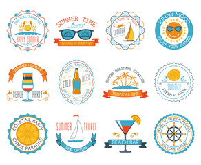 Summer vacation emblems stickers set flat