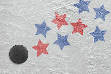 Hockey puck and stars