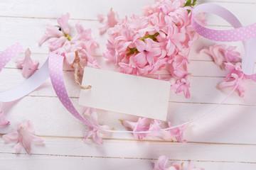 Postcard with fresh flowers hyacinths