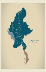 Modern Map - Myanmar with states and divisions MM