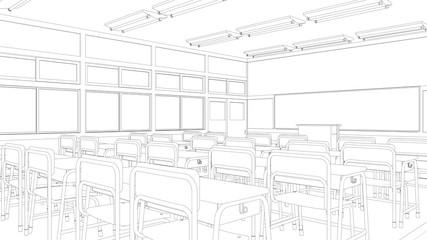 教室の線画