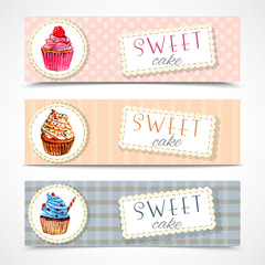 Sweetshop cupcakes banners set