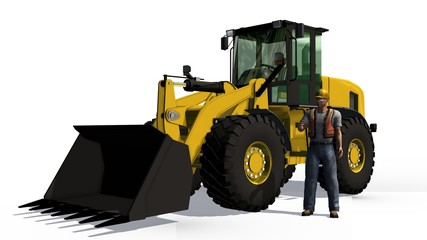 Wheel loader bulldozer and cosntruction worker  isolated