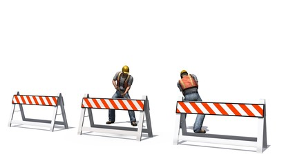 Construction worker with helmet and shovel behind roadblock