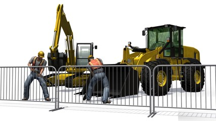 Bulldozer, Excavators, construction worker isolated