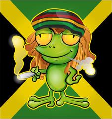 Rastafarian frog cartoon on jamaican flag