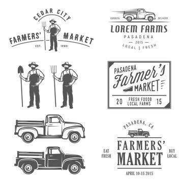 Vintage farming labels, badges and design elements