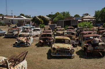 Old retro cars at the junkyard