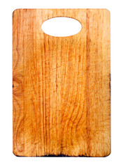 Old and used natural wooden cooking board with cuts isolated.