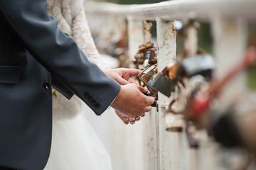 Couple locking love lock