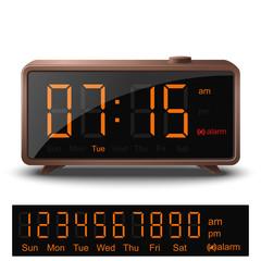 Retro style digital alarm clock with orange numbers