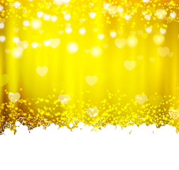Gold background with hearts and lights