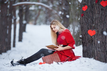 Valentines day Sensual blond woman
